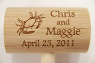custom personzalized  laser engraved crab mallets
